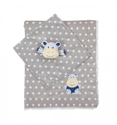 BabyOno Double-sided minky blanket with huggy toy